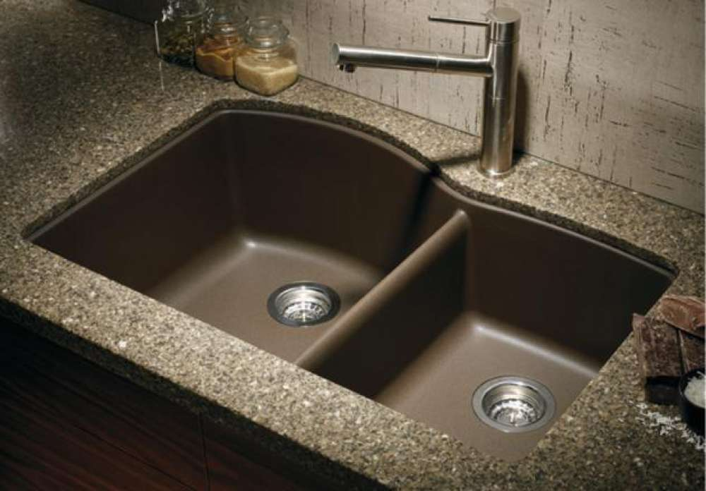 Blanco 440177 Silgranit Double Bowl Granite Kitchen Sink - Cafe Brown