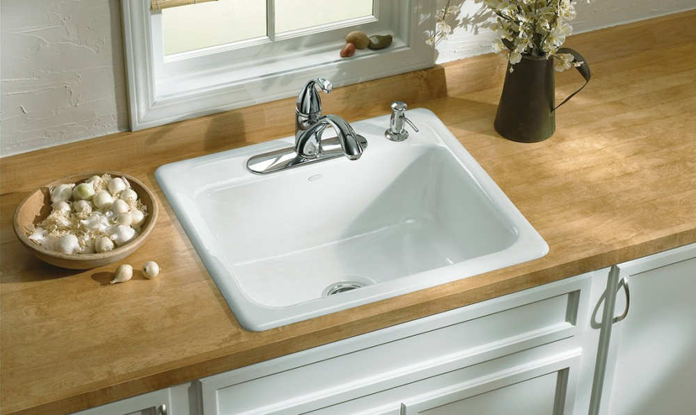 Kohler K 5964 4 0 Mayfield Single Bowl Cast Iron Kitchen Sink