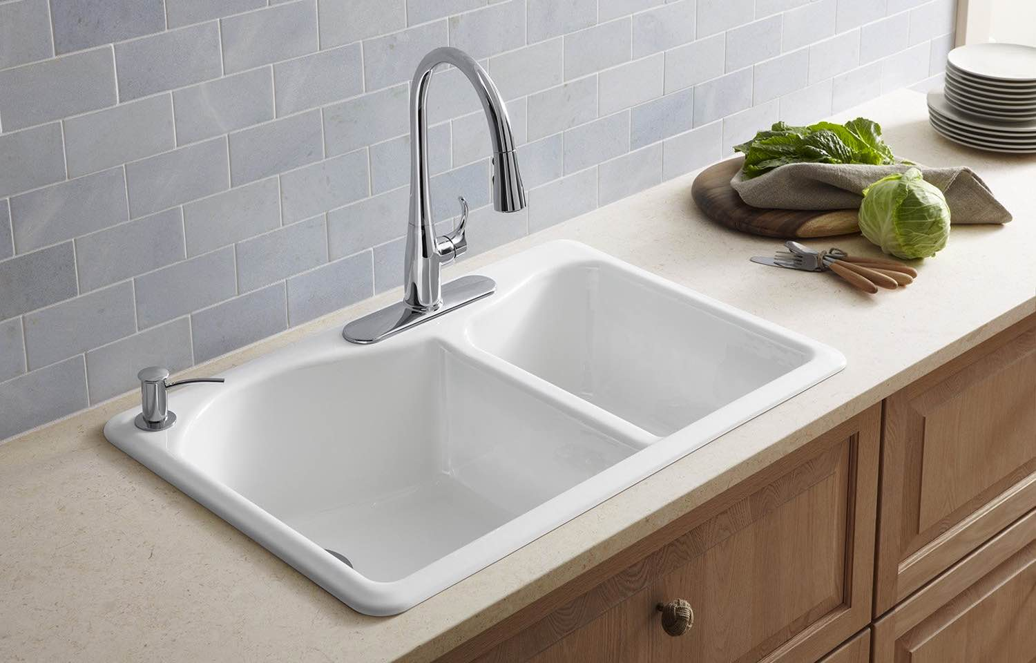... Kohler K 5841 4 KA Lawnfield Top Mount Cast Iron Sink ...