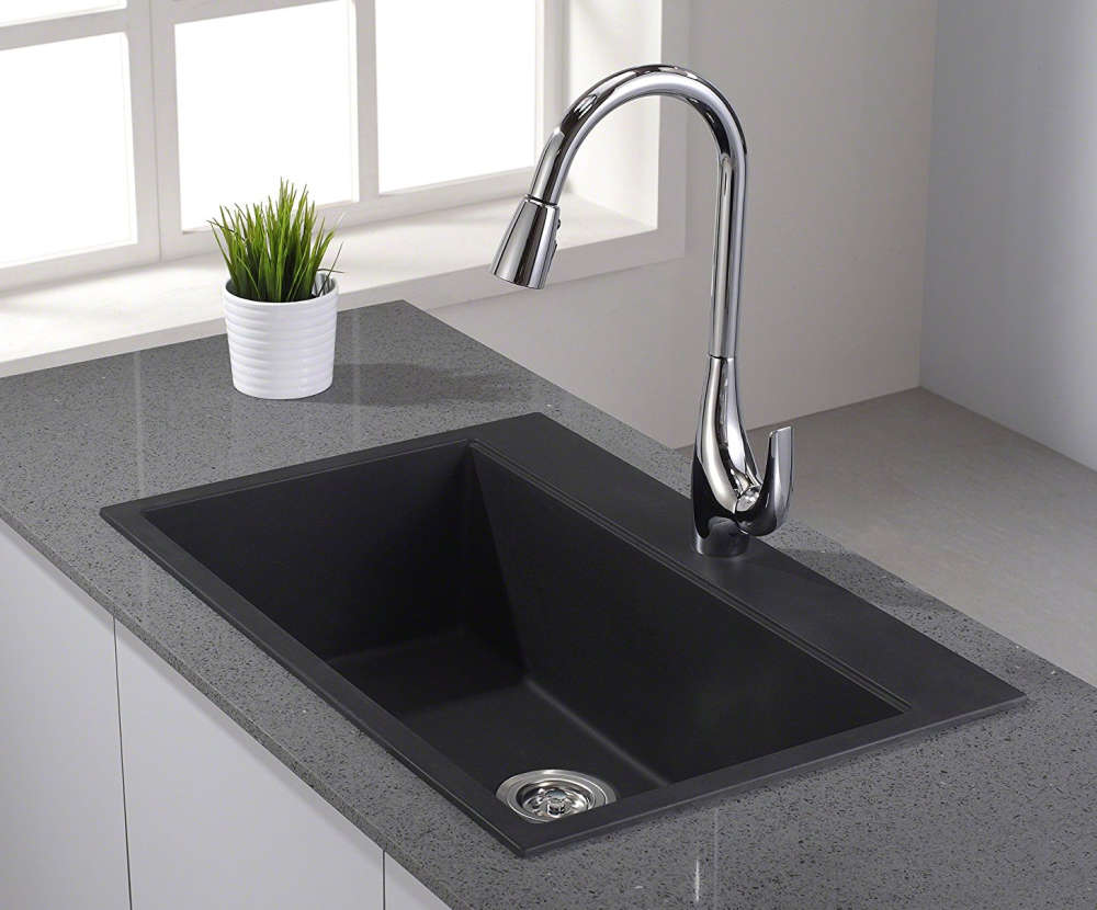 Kraus KGD-412B single bowl granite kitchen sink