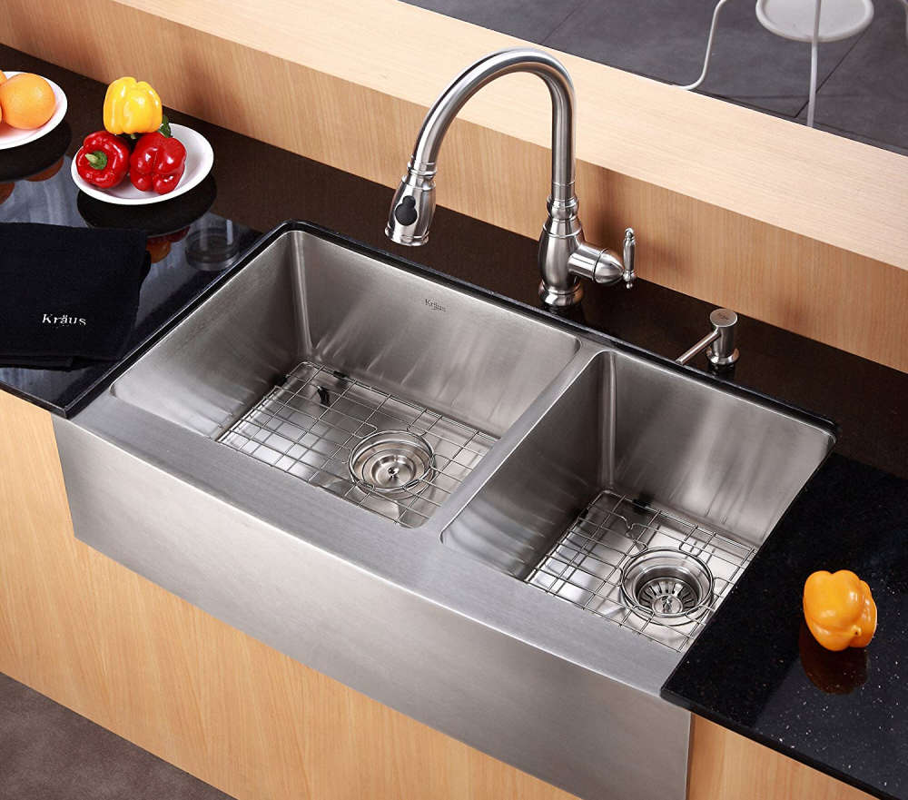 Apron front stainless steel sink by Kraus