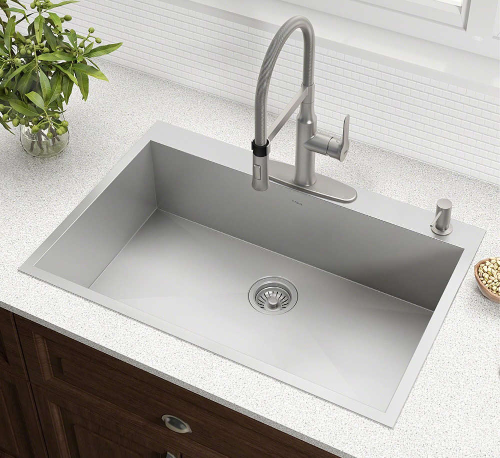 Wi Radius 33 Inch Single Bowl Stainless Steel Kitchen Sink