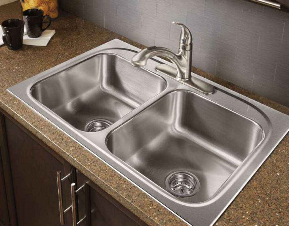 Drop-in stainless steel sink