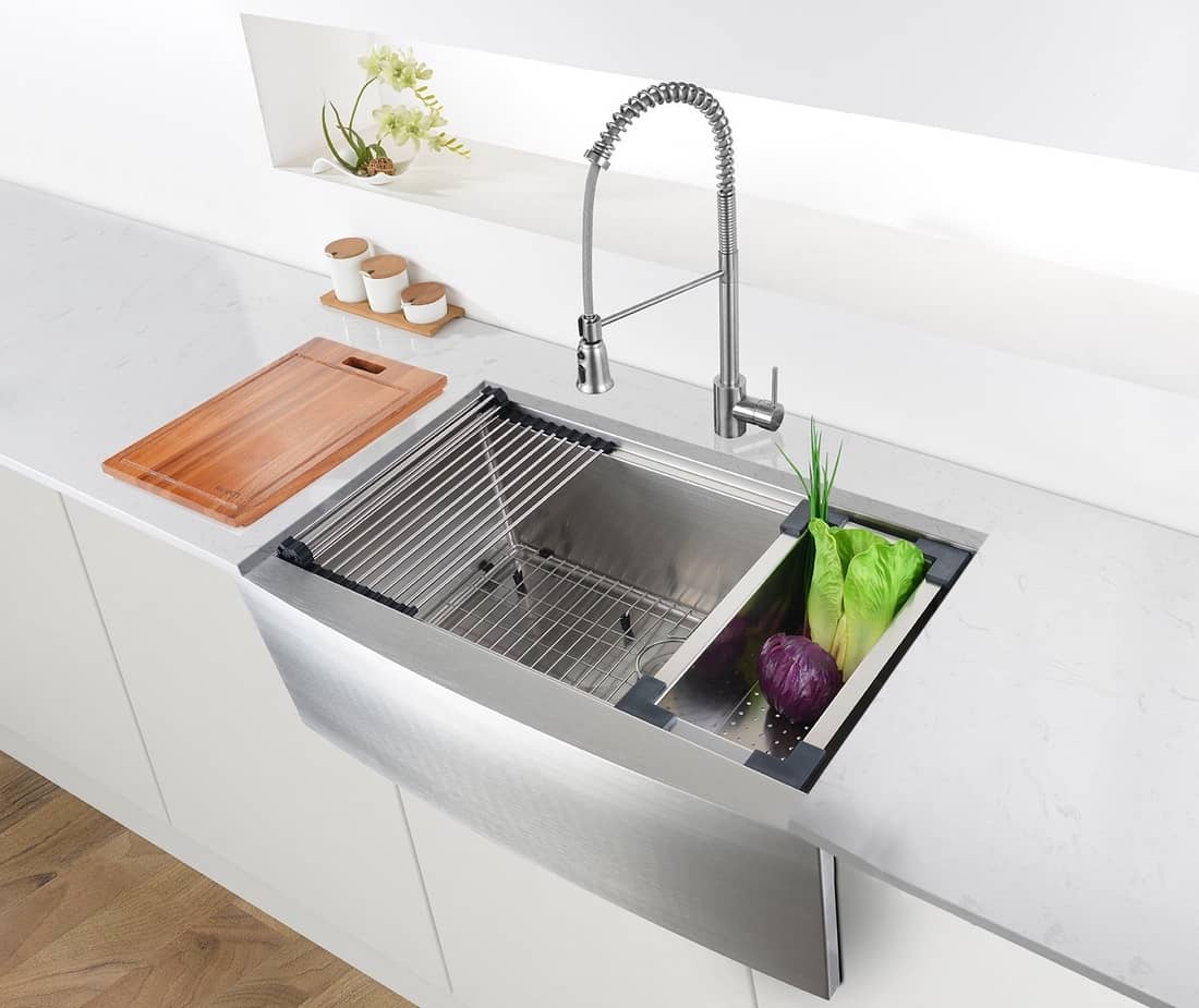 Ruvati Workstation Stainless Steel Farmhouse Kitchen Sink in Kitchen