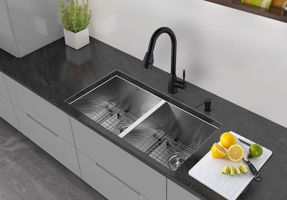 vigo 32inch undermount double basin stainless steel sink