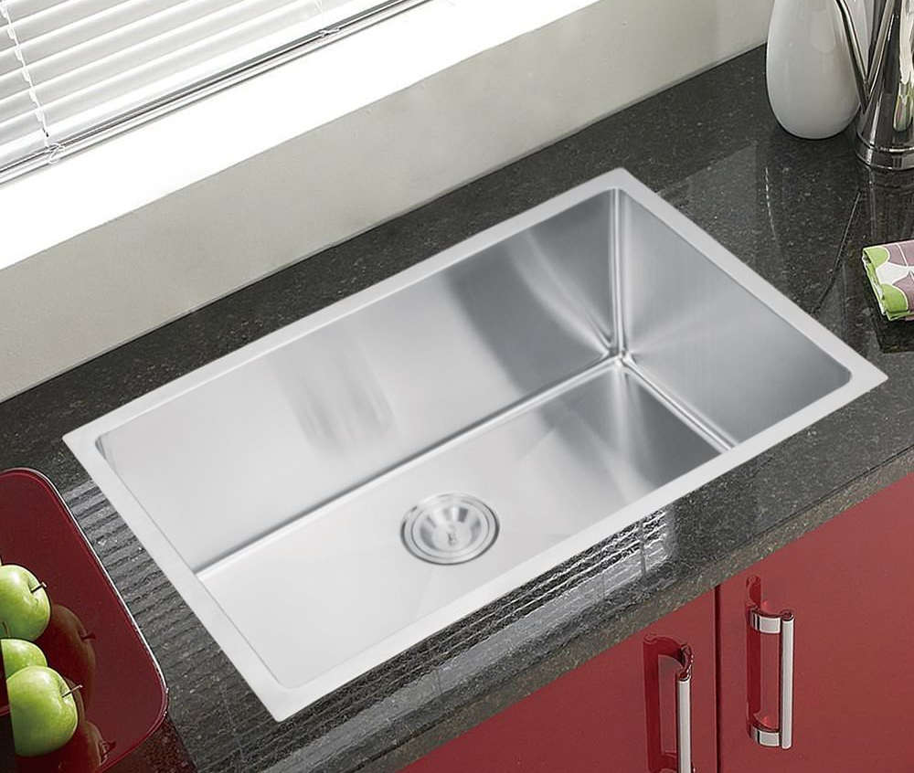 Water Creation SS-U-3018B Single Bowl Stainless Steel Kitchen Sink